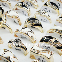 Wholesale Wholesale Black Mens Ring - New Arrival 10pcs CZ Rhinestones Black White Enamel Gold Plated Womens Mens Rings Wholesale Fashion Jewelry A-252