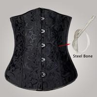 Wholesale Full Steel Bone Corset - Free shipping!! Full Steel Boned Corsets Cincher Underbust Corset Black Waist Training corsets sexy corselet 8903