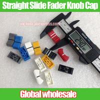 Wholesale Fader Mixer - Wholesale- 50pcs Straight Slide Button Knob Cap Mixer Potentiometer Fader Cap Playing discs Push Button Audio Volume Switch Knob hole 4mm