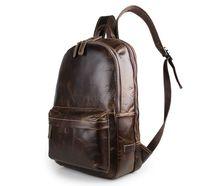 """Wholesale Vintage Hiking Backpacks - Mens Genuine Leather Backpack 17"""" Laptop Bag Vintage Style Bag Hiking Bag Black and Chocolate Color 7273"""