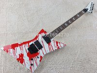 Wholesale Blood Guitar - wholesale Free shipping new lectric guitar shaped active EMG pickups one drop of blood can be altered guitar 150717