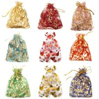 Wholesale Luxury School Bags - 100pcs Patterns Luxury Organza Jewelry Bags Christmas Wedding Voile Gift Bag Drawstring Jewelry Packaging Gift Pouch 10*12cm