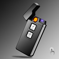 Wholesale smart lighters - 2017 New 2 in 1 Coil and Arc Lighter Smart Electronic USB Lighters Dual-purpose Touch Induction Ignition Metal Cigarette Lighter