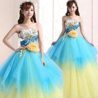 Wholesale Size Models Catwalk - Princess Quinceanera Dresses 2016 Sweet Strapless Beading Flower A-line Long Formal Dress Plus Size Catwalk Performance Dress