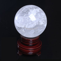 Wholesale Natural Gemstone Carving - Wholesale 880g Natural Clear Crystal ball Gemstone Sphere Healing Reiki Crystal balls Home Decorations free shipping + stand