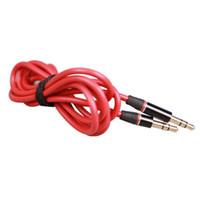 rojo gato iphone al por mayor-Rojo Nuevo jack de 3.5mm a 3.5mm Tipo redondo Car Aux audio y Extended Audio Cable para iPhone 5 5S 4 4S