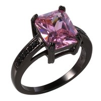 Wholesale Art Deco Tins - Fashion Bridal Jewelry Attractable Art Deco Pink Sapphire Black Gold Plated Ring Size 6 7 8 9 Women Wedding Rings Wholesale Free Shipping
