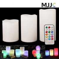 Wholesale Electric Cupping Set - LED Candle Night Light Battery Operated 3pcs Set Pillar Electric Candles Multi Function Remote Controller Color Changable Safty for Decorate