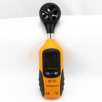 termómetro de velocidad del viento al por mayor-HT-81 Bolsillo Anemómetro de alta sensibilidad Pantalla LCD digital Medidor de velocidad del viento de mano Medidor Termómetro de medición