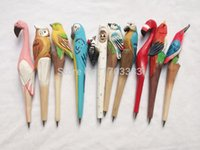 Wholesale chinese sculptures - DHL Free shipping 500pcs Wooden animal carving creative ballpoint pen Chinese Zodiac wood pens handmade sculpture #HT34