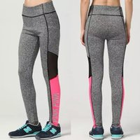 Graue Druck Mädchen Leggings Kaufen -S-3XL Frauen Leggings Mode VS ROSA Brief Letter Print Workout Leggings Frauen Sportswear High Taille Winter Grau Hosen für Mädchen Lady