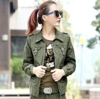 Wholesale Embellished Jackets - Army Green Cargo Jackets 2016 New Fashion Eagle Embroidery Militare Armband Embellished Ladies Casual Jackets Free Shipping