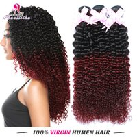 Wholesale Hair For Weaving Cheap Price - Cheap Prices for Kinky Curly Two tones Color Peruvian Hair Products Double Weft Brazilian Human Hair 3 vPcs Free Shiping
