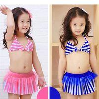 Wholesale Toddler Girl Wearing Swimsuit - 2016 Kids Swim wear Girls Bikini Two pieces Swimwear Swimsuit cute striped Swimming suit Baby Bathing suit Toddler Children Gifts wholesale