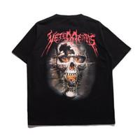 Wholesale heavy t shirts men - 2017 Justin Bieber Vetements Oversized Heavy Metal Back Side Skull Print Oversize Short Sleeve Men Women Cotton T-shirt Tee