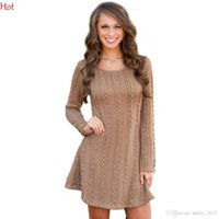 Wholesale Rhinestone Women S Dresses - Fashion Women Thin Knitting Winter Dress Casual Style Rhinestone Slim Vestidos O Neck Long Sleeve Stretch Knited Mini Sweater Dress SV028968
