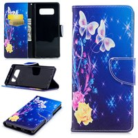 ingrosso telefoni flip giallo-Per Samsung Note 8 S8 Plus Custodie in pelle dipinte con copertina rigida PU Flip wallet Card Yellow Flower Butterfly Design Phone Bags