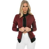 Wholesale Short Coat Female - women bomber jacket female Black Jacket flight suit casual coat women coat and embroidered patch women jacket coat