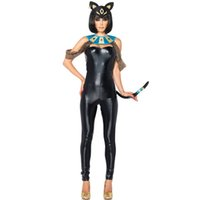Wholesale Tight Leather Jumpsuit - Wholesale-Sexy Cat Girls Pantent Leather Tight Onesie Jumpsuit Halloween Cosplay Costume For Women Adult Nightclub Costumes