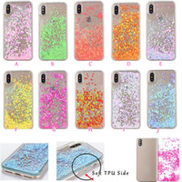 Bling Glitter Heart Love Star Liquid Hard Plastic + ТПУ Корпус для Iphone X 5.8inch Quicksand Floating Sparkle Clear Magical Cover Back Skin