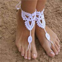 Wholesale Wedding Ornaments For Cheap - 2016 New Boho Cotton Crochet Barefoot Sandals For Bride Wedding Anklets Beach Anklets Shoes Ornament Ankle Bracelet Bohemian Cheap 4 Pieces