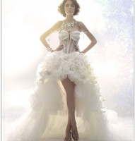 ingrosso abiti da sposa backless stile corsetto-Real Photo 2019 Summer Style Design Luxury Crystal See Through Corsetto Sexy Front Short Back Back A-Line Abito da sposa Backless Abiti da sposa