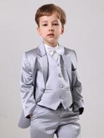 Wholesale Boys Suits Wedding Gold - Handsome Custom Made Suits Silver Satin Boys' Suits Boys' Wedding Suits Boy's Formal Wear Jacket Vest Pants- q04