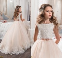Wholesale Flower Girls Dresses - Custom Made Flower Girl Dresses for Wedding Blush Pink Princess Tutu Sequined Appliqued Lace Bow 2017 Vintage Child First Communion Dress