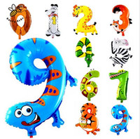 Wholesale Party Babys - Animal Number Foil Balloon Wedding Happy Birthday Party Decoration Balloons Kids Babys Children's Toys Gifts G910