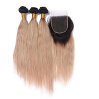 dunkle erdbeerblondine großhandel-Dunkle Wurzel 1B / 27 Honig Blonde Ombre 4x4 Front Lace Closure mit spinnt gerade Strawberry Blonde Ombre peruanischen Haar 3 Bundles mit Verschluss