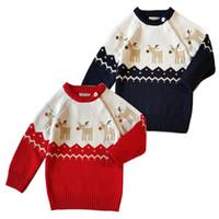 tığ işi kız kazak süveter toptan satış-Noel Giyim Bebek Örgü geyik Kazak Çocuklar Tığ Örme Jumper Kazak Kızlar Noel Dış Giyim Bebek Giysileri