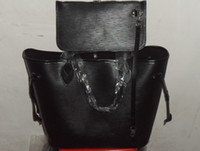 Wholesale Smooth Line - Women MM M40932 Black Color Épi Cowhide Leather Top Handles Tote,Smooth Leather Trim,Calfskin and Microfiber Lining,Silver Hardware