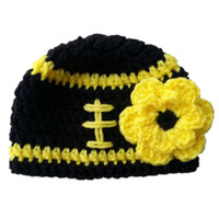 Crochet Football Beanie Handmade Knit Baby Girl Football Team Hat with  Flower Infant Newborn Photo Props Toddler Winter Hat Baby Shower Gift c1b030329