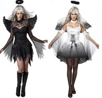 Wholesale Adult Party Wings - 2017 New Women Fantasia Halloween Costumes Fantasy Cosplay Party Fancy Dress Adult Fallen Angel Costume With Angel Wings