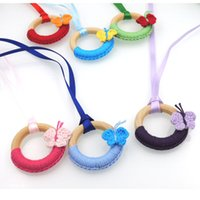 Wholesale Pastel Color Necklace - 6 color to choose Pastel color crochet circle pendent Butterfly Nursing Necklace Breastfeeding Necklace Mommy feeding NW1992
