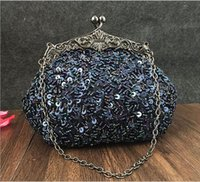 Wholesale Shiny Stockings Red - 2016 new batch of hot In Stock exquisite style beaded bag handmade packet banquet bride shiny package