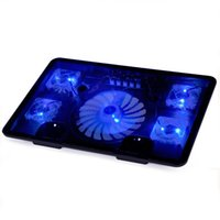 Wholesale Blue Light Notebook Laptop Cooling - Wholesale-Laptop cooler with 5 fans 2 USB ports blue back light and adjustable stand notebook cooling pad