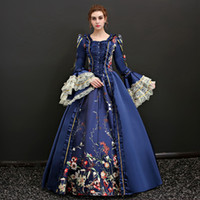 Wholesale Long Sleeve Sequin Dress Xs - Custom 2017 Red and Blue Square Neck Long Flare Sleeve civil war dresses White Lace Marie Antoinette Theme clothing For Women