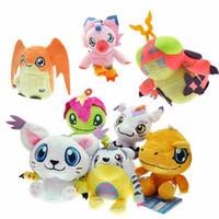 Wholesale wholesale digimon toys for sale - New cm Digimon Adventure Agumon Palmon Gomamon Tailmon Gabumon Patamon Piyomon Pendant Keychain Plush Toys Gifts