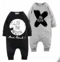 Wholesale Sleeping Jumpsuits - 2017 INS Boys Girls Baby Jumpsuits NO SLEEP Rompers Clothing Summer Spring Autumn Toddler Romper Onesies Boutique Infant Bodysuit Clothes