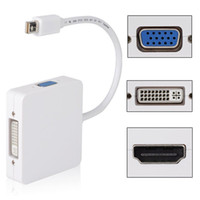 mini dp port macbook pro toptan satış-Freeshipping 3 1 Mini Display Port DP Thunderbolt için DVI VGA Apple Macbook Pro Microsoft Surface Pro için HDMI Adaptör Kablosu Tabletler