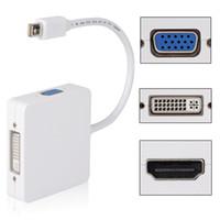 mini dvi vga adapter apfel großhandel-Freeshipping 3 in 1 Mini Display Port DP Thunderbolt zu DVI VGA HDMI Adapter Kabel für Apple Macbook Pro Microsoft Surface Pro Tablets