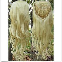 "Wholesale Synthetic Half Clip Wigs - 100% Brand New High Quality Fashion Picture wigs >>3 4 Half Wig Clip In on Hair Piece Long Wigs Wavy 22"" Synthetic #613 blonde"
