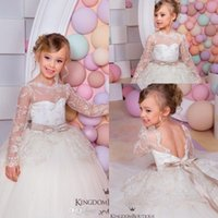 Discount pictures kids pageant dresses - Cute Princess Spring Flower Girls Dresses For Weddings Sheer Long Sleeves Lace Layers Girls Pageant Dresses Toddlers Backless Kids Dresses