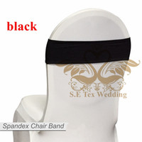 Wholesale Wedding Chair Bows For Sale - Hot Sale Black Color Chair Band \ Spandex Chair Sash Bow For Chair Cover