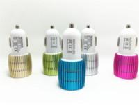 carregadores au 4s venda por atacado-2016 liga de metal shell com led light 3.1a 2.1a dupla porta usb adaptador de carregador de carro para apple iphone 5 5s 5c 4 4 s ipad ar samsung galaxy