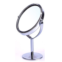 Wholesale Double Compact - High Quality Women Oval Shape Make Up Mirror Double Dual Side Rotating Cosmetic Desk Stand Table Mirror Makeup Compact Mirror