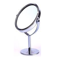 oval biçimli aynalar toptan satış-Yüksek Kalite Kadınlar Oval Şekil Makyaj Aynası Çift Çift Yan Dönen Kozmetik Danışma Standı Masa Ayna Makyaj Kompakt Ayna
