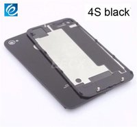Wholesale Iphone Battery 4gs - For iphone 4 4G 4S 4GS Glass Back Cover Housing Battery Door Replacement Part With Flash Diffuser Camera Lens