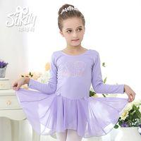 Wholesale Long Sleeve Child Ballet Dress - Long Sleeve Ballet Dress For Children Newest Sweet Bow Ballet Practice Skirt Girls Ballet Stage Perform Professional Tutu